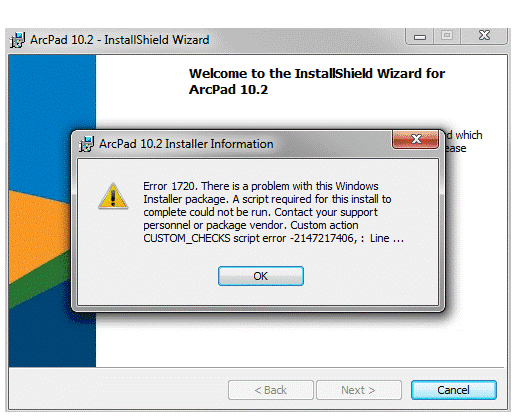 Error: Error 1720: There is a problem with this Windows Installer